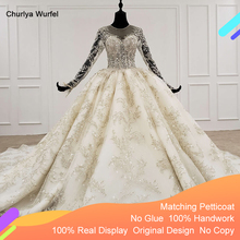 HTL1096 luxury bead wedding dress long sleeve illusion o neck lace wedding gown with bridal veil plus size weddind dress