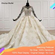 HTL1096 יוקרה חרוז חתונה שמלה ארוך שרוול אשליה o צוואר תחרה שמלת כלה עם כלה צעיף בתוספת גודל weddind שמלה