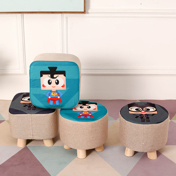 Cartoon Solid Wood Stools Home Living Room Fabric Cover Kids Stool Small Chair for Children Kids Furniture Kindergarten Chair