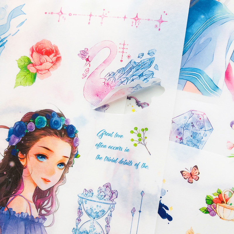 6 Sheets Princess Fairy Girls Paper Sticker Adhesive Stick Label Hand Account Decoration