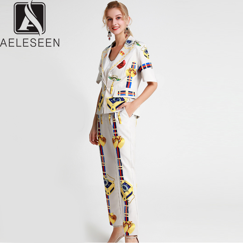 AELESEEN Office Lady Twinset Women 2019 New Item Single Breasted Flare Sleeve Top + Ankle Length Pants Vintage Print Suits