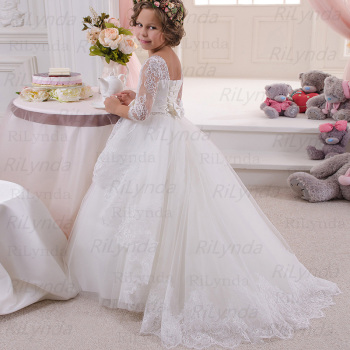 Flower Girl Dresses for Weddings Tulle Princess Lace Half Sleeve Holy First Communion Gowns Party Pageant Dress For Girls - discount item  40% OFF Wedding Party Dress