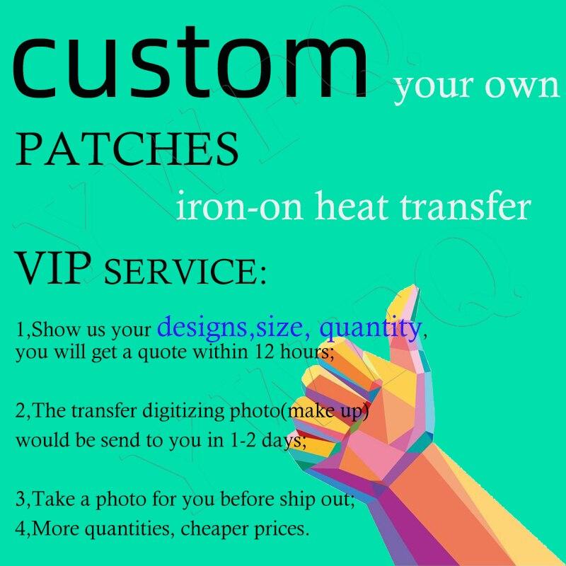 Özel ısı transferi yamalar DIY demir-on yamalar T-shirt ayakkabı vinil transferi aplike çıkartmalar özel Logo yıkanabilir yama