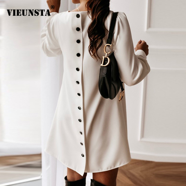 Women Long Sleeve Single-breasted Mini Dress Spring Autumn O-neck Metal Buttons Party Dress Elegant Solid Plus Size A-Line Dress 1