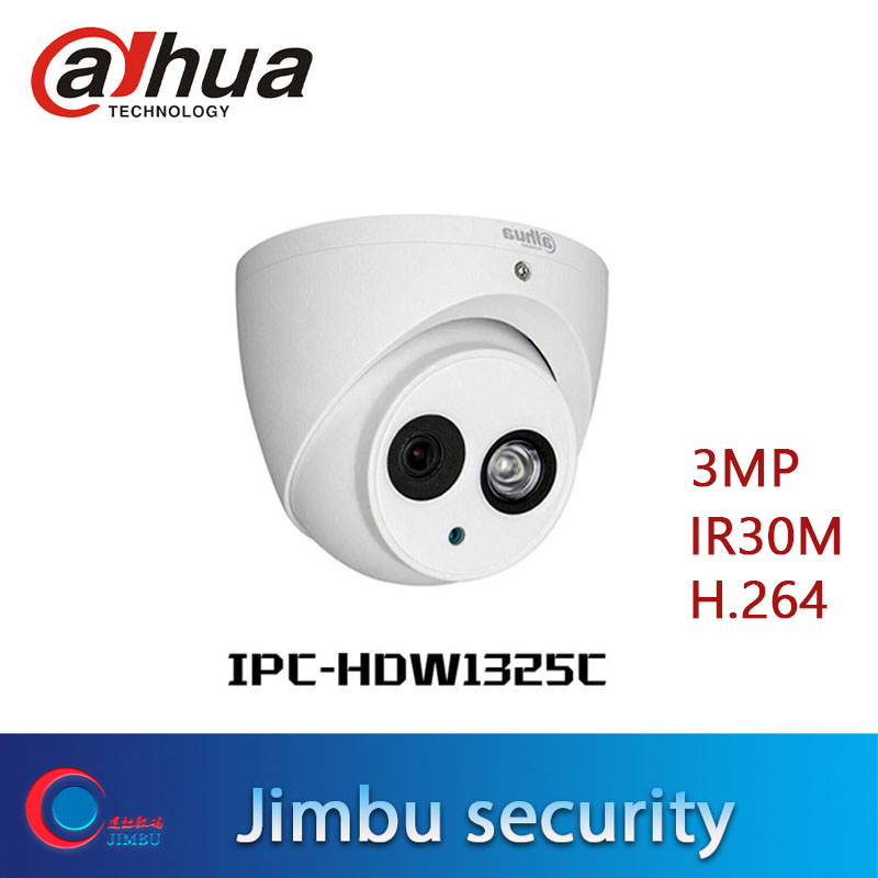 Dahua Original 3MP Dome Camera  H.264  ONVIF Indoor  IP Camera 1080p IPC-HDW1325C IR 30M Surveillance Network  Cctv Cam