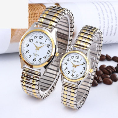 Top Brand Luxury Fashion Business Women Men Elastic Gold Sliver Quartz Watch Tide Lovers Couple Party Office Bracelet Watches
