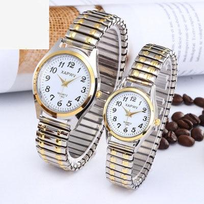 Top Brand Luxury Fashion Business Women Men Elastic Gold Sliver Quartz Watch Tide Lovers Couple Party Office Bracelet Watches