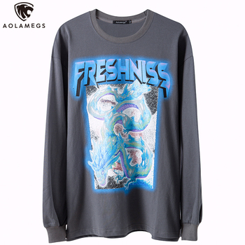 Aolamegs Cool Colorful Dragon Painting Letter Print Hip Hop Sweatshirt Hoodie Men Hipster High Street Style Pullover Streetwear new winter 2020 street hip hop gray letter star print oversize hoodie hoodie with plush