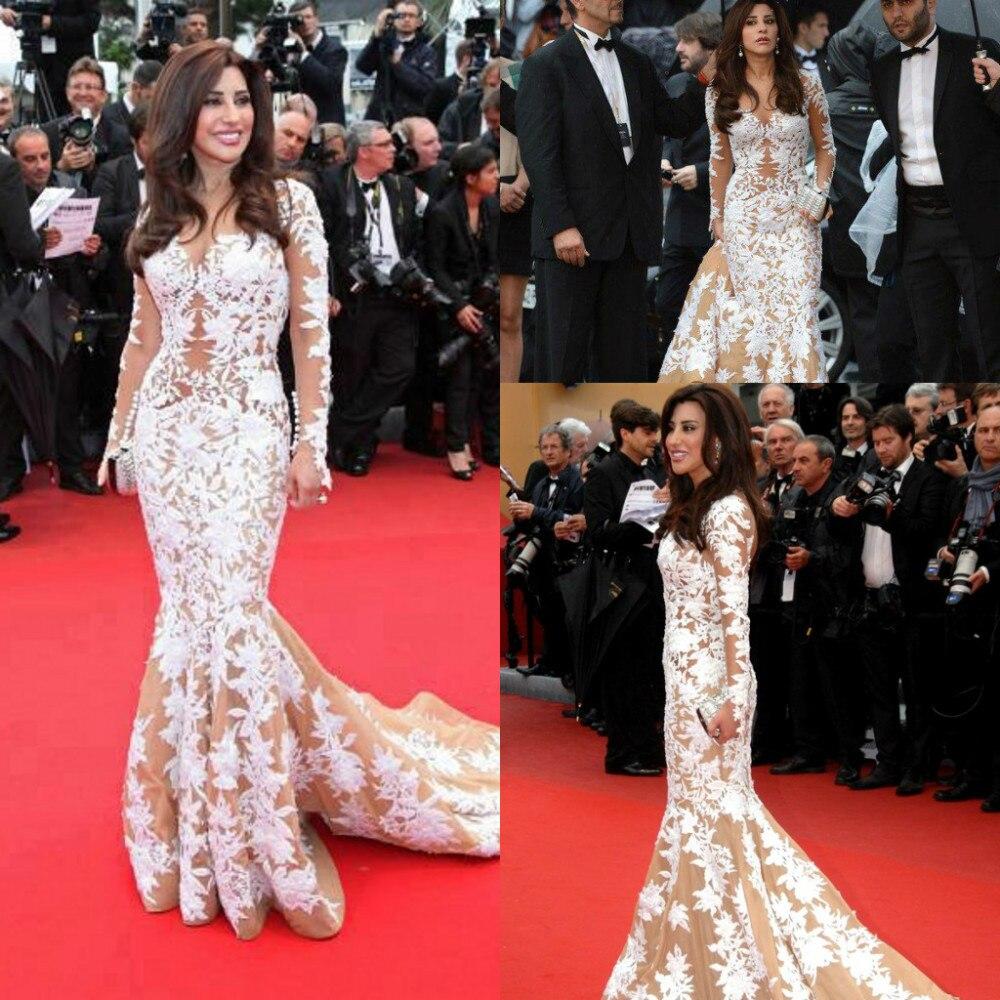 Mermaid Sweetheart Long Sleeve Najwa Karam Cannes Celebrity Red Carpet Lace Vestido Celebridades Mother Of The Bride Dresses