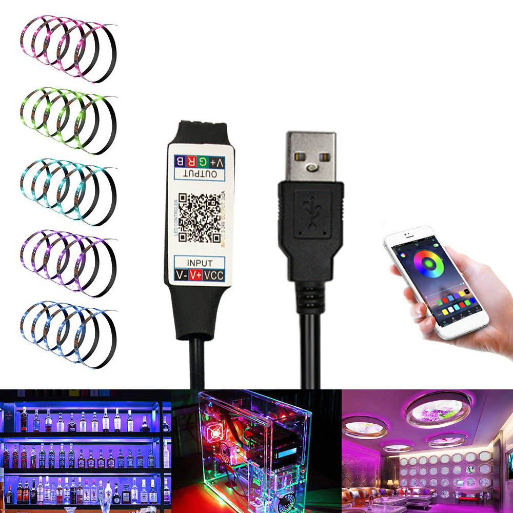 Smart RGB Bluetooth LED Controller USB Powered For 3528 5050 RGB Light Strip Multicolor Changing DC 5V With Timer Suitabl