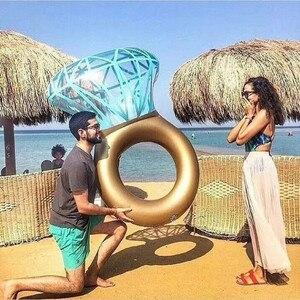 Image 5 - Rooxin 140cm יהלומי מתנפח שחייה מעגל רפסודת בריכה לצוף טבעת שחייה למבוגרים נשים תמונה אבזרי בריכת צעצועי החוף המפלגה