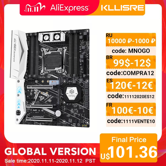 HUANANZHI X99 motherboard with dual M.2 NVME slot support both DDR3 and DDR4 LGA2011 3