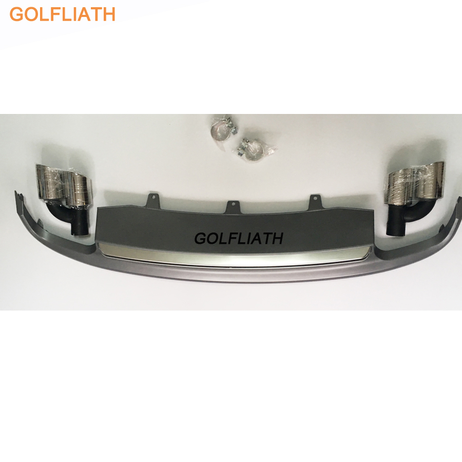 GOLFLIATH S7 style PP+Stainless <font><b>Rear</b></font> Lip Bumper <font><b>Diffuser</b></font> Kit End Pipe Muffler Tip fit For <font><b>Audi</b></font> <font><b>A7</b></font> 2011-2015 Standard bumper image