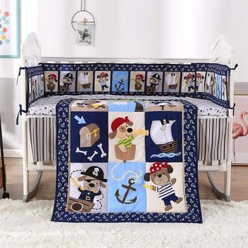 7PCS embroidered Baby Bedding Set Cartoon Cot Bed Linen Crib Bedding tour de lit bébé (4bumper+duvet+bed cover+bed skirt)