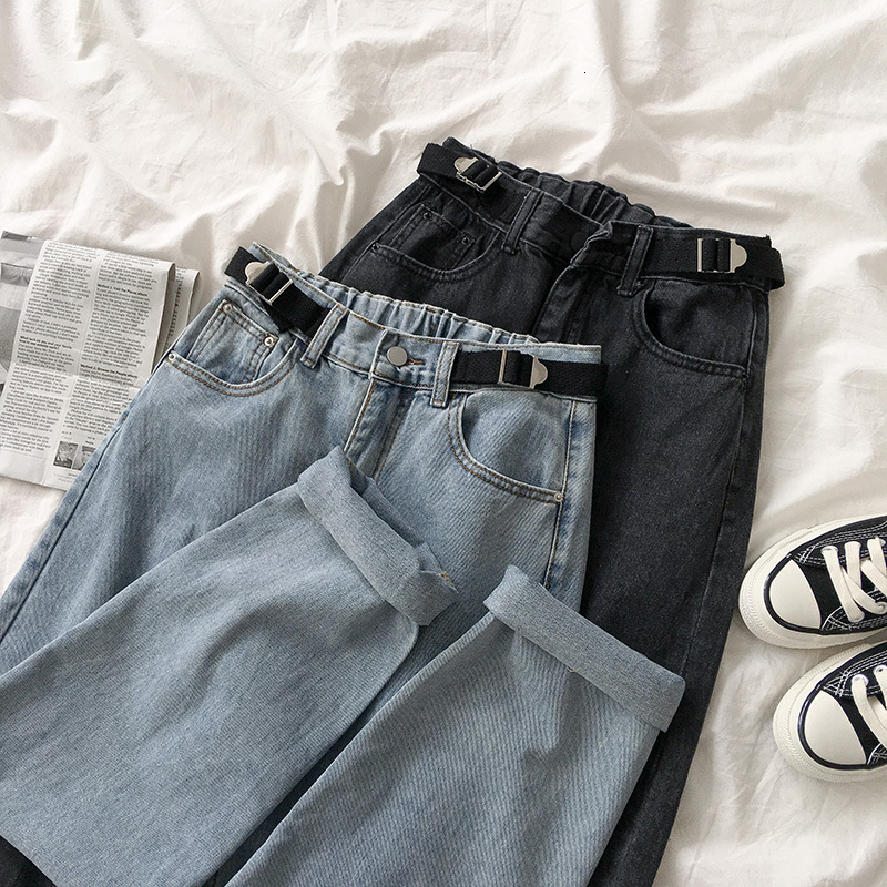 Streetwear Fashion High Waist Jeans Women Casual Solid Elastic Waist Loose Long Trousers Female Black Gray Straight Cotton Pants