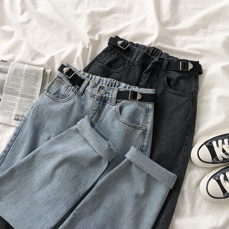 Streetwear Fashion High Waist Jeans Women Casual Solid Elastic Waist Loose Long Trousers Female Black Gray Straight Cotton Pants