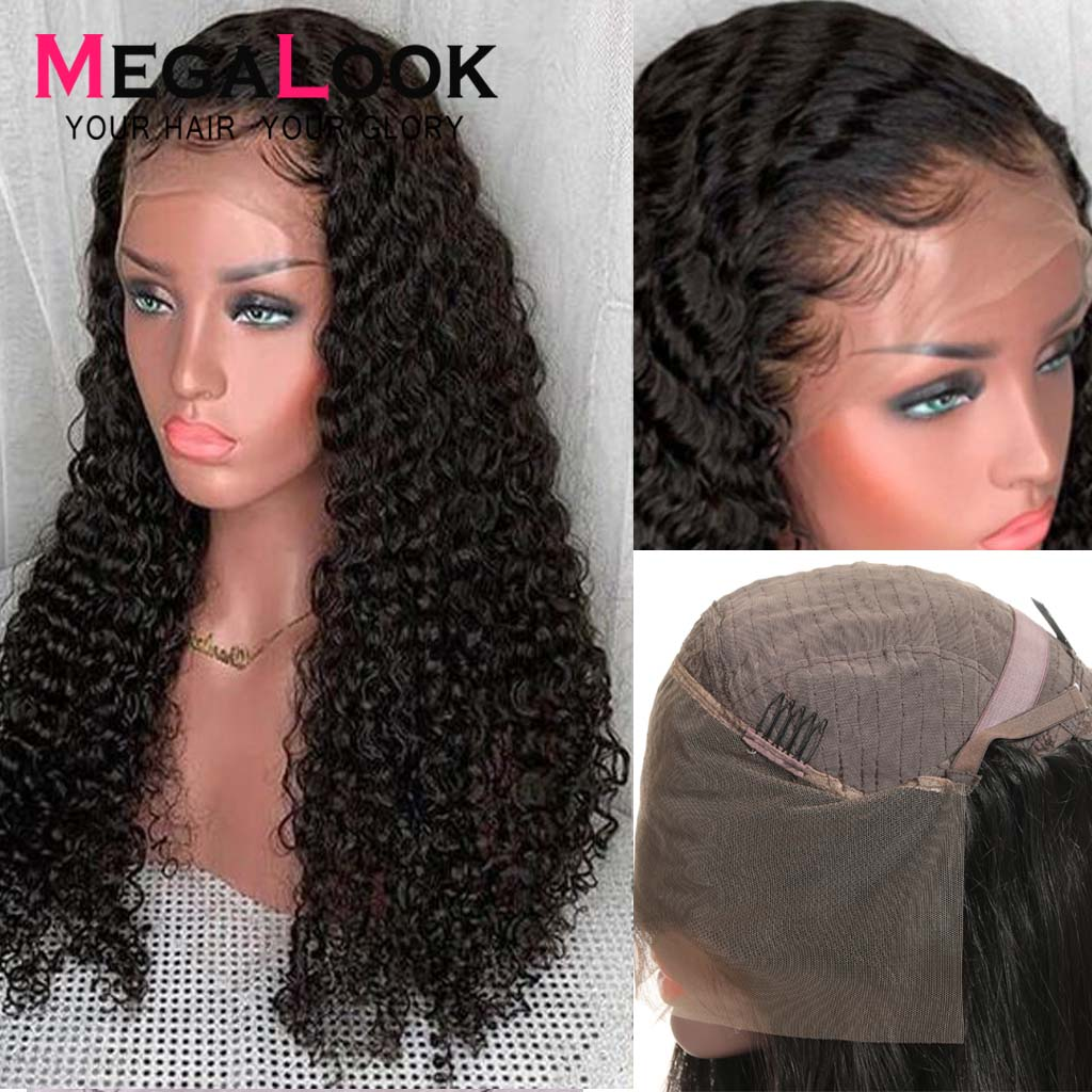 Deep Wave Wig Lace Front Human Hair Wigs Brazilian Hair Remy Megalook 13x4 180% 210% 12-34 Inch Lace Frontal Wigs With Baby Hair
