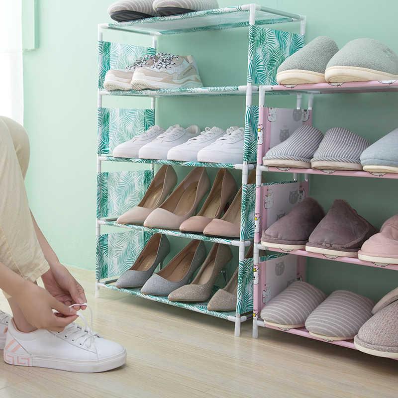 3-4 schichten Nicht-woven Schuh Rack Staubdicht Wohnzimmer Schlafsaal Schuh Schrank Regal DIY Home Möbel veranstalter Zapatos