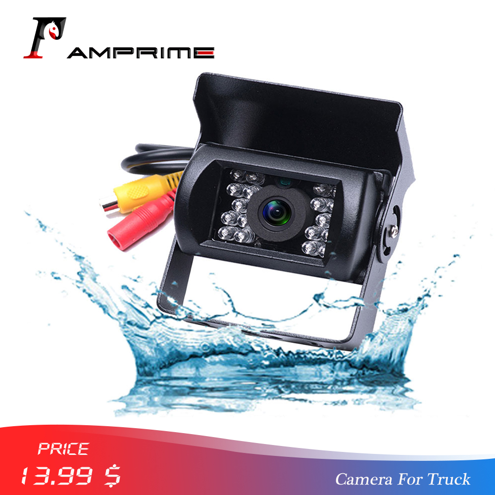 AMPrime Bus & Truck Backup Camera Waterproof 18 IR LED Car Rear Vehicle Camera 12V Reversing Parking Rearview Cam Night Vision