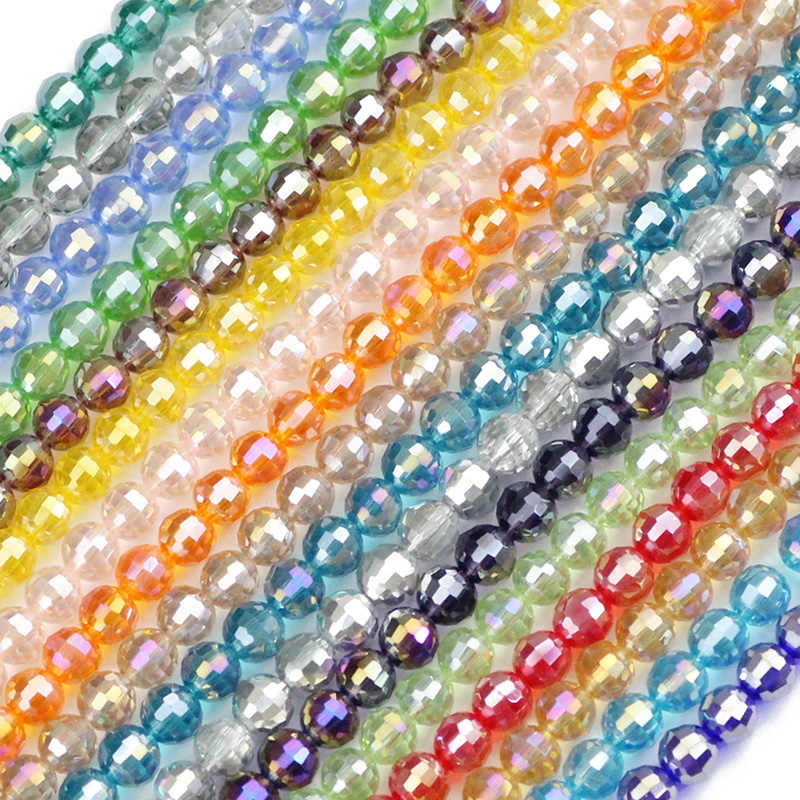 50pcs Crystal Spacers Czech Glass Beads 4840 4mm Beads 4mm - Fire Polished Beads Round Beads Crystal AB Beads