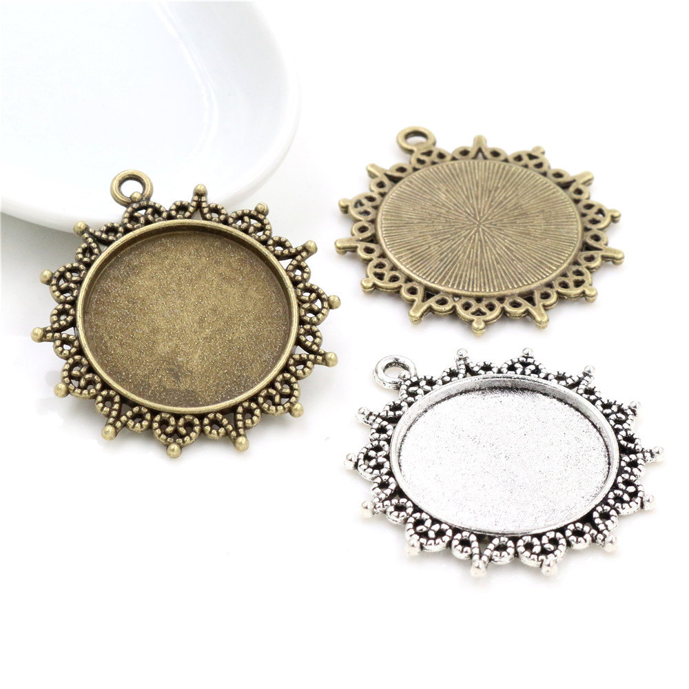 New Fashion 5pcs 25mm Inner Size Antique Bronze Pattern Cameo Cabochon Base Setting Charms  Pendant