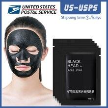 10pcs פנים מינרלים בוץ ממברנות חימר שחור מסכת רצועות מנקה האף נקבובית חטט אקנה Remover מסכת קוריאני הלבנת מסכה