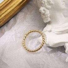 2021 neue Trendy Gold Seil Twist Ringe für Frauen Minimalistischen Geometrische Runde Kreis Finger Ring Hochzeit Schmuck