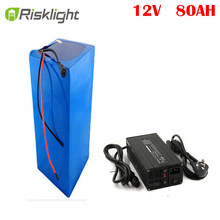 rechargeable Wholesale 12V 80Ah lithium li ion battery for solar power system and golf cart with 10A charger(China)