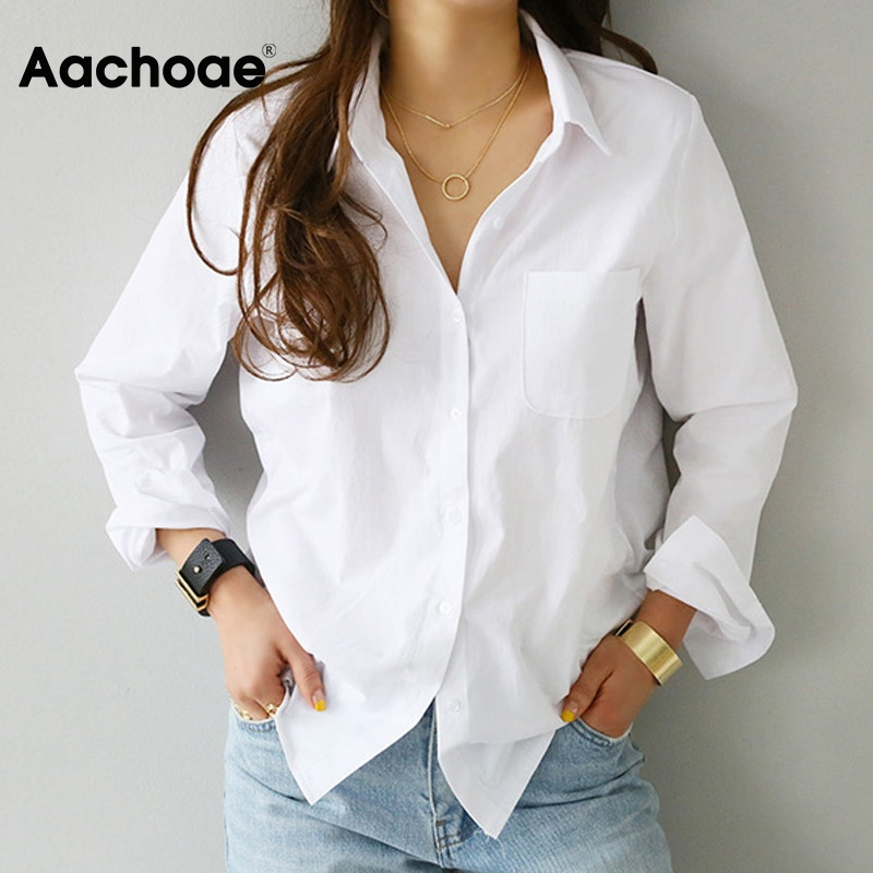 Aachoae Women Casual White Blouses Long Sleeve Office Shirts 2020 Turn Down Collar Solid Pocket Shirt Ladies Plus Size Tunic Top