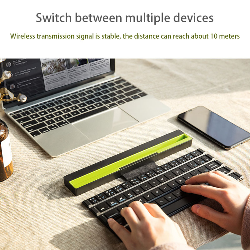 Folding Bluetooth <font><b>Keyboard</b></font> Portable <font><b>Keyboard</b></font> <font><b>64</b></font> Keys Wireless Reel <font><b>Keyboard</b></font> For Tablet Laptop Smartphone For IOS Android Windows image