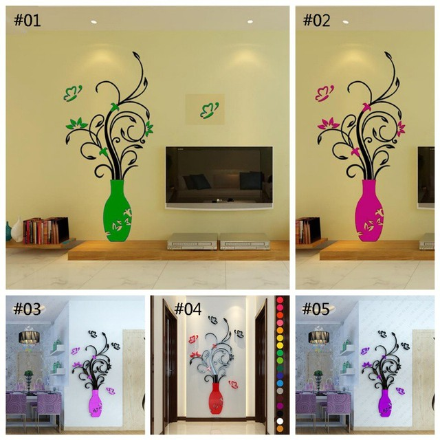 3D Home Decals Decor DIY Fashion 3D Vase Flower Tree Crystal Arcylic Wall Stickers Decal Home Room Indoor Decor Wall Stickers 5
