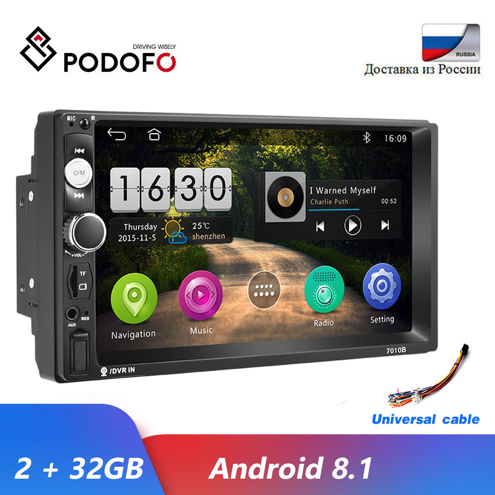 Podofo Android 8.1 2 Din Car radio Multimedia Video Player 2 Din 7 Mirror Link Bluetooth USB FM SD 2Din Autoradio Stereo image