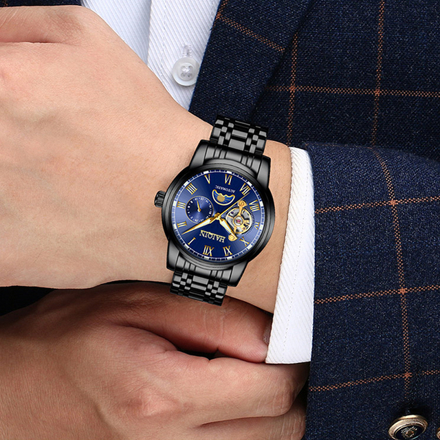 2019 nova marca de luxo relógio de aço masculino relógio de negócios relógio lua reloj hombre 5