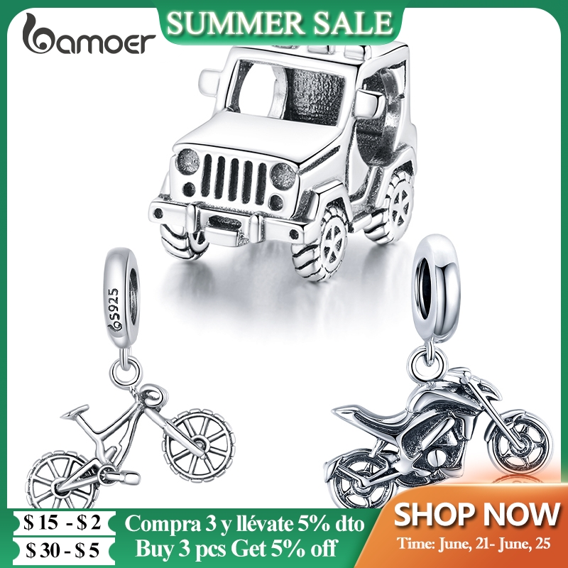 bamoer Original Authentic 925 Sterling Silver Off-road Vehicle Beads Charm for Women Brand Bracelet & Bangle DIY Jewelry BSC382