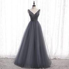 Великолепные серые вечерние платья сверкающее длинное платье