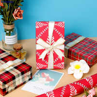 New Wrapping Paper High-end Simple Gift Paper Lattice Russian Matryoshka Small Mushroom Flower Paper Paper Craft Supplies