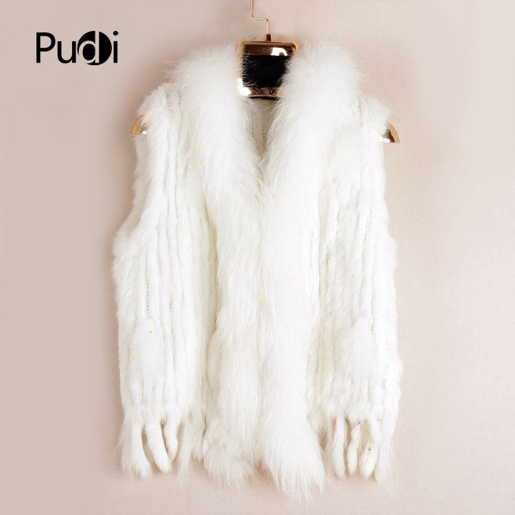 VR001 Free Shipping Womens Natural Real  Rabbit Fur Vest  With Raccoon Fur Collar  Waistcoat/jackets Rex Rabbit Knitted Winter