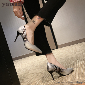 Image 4 - 9cm high heels women beige pumps thin heel snake print sexy party prom shoes woman 2020 fashion sliver pink stilettos A0 172