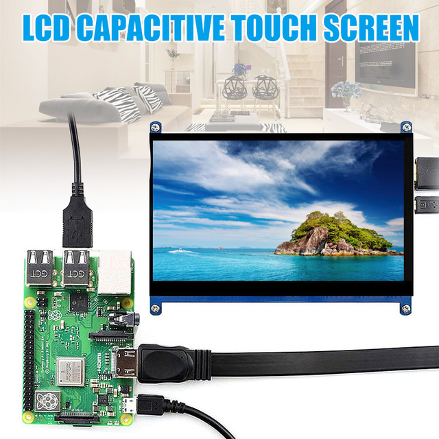 7 Inch Touch Screen 1024x600 Resolution LCD Display HDMI TFT Monitors Compatible for Raspberry Pi  UND Sale