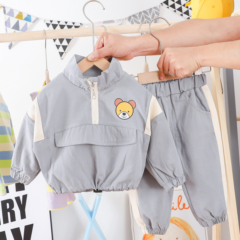 HYLKIDHUOSE 2020 Spring Baby Boys Girls Clothing Sets Toddler Infant Clothes Causal Style Long Sleeve Cartoon Bear Tops Pants