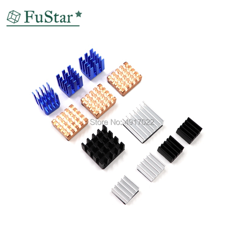 12 Pcs/Set Heat Sink Aluminum Copper Radiator Cooler Kit For Raspberry Pi 2 / 3 Whosale&Dropship 9*9*12 14*14*6 8*8*4 13*12*5mm