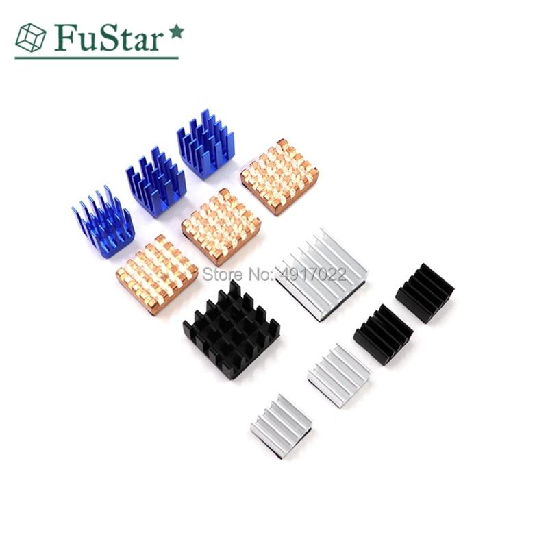 12 Pcs/Set Heat Sink Aluminum Copper Radiator Cooler Kit For Raspberry Pi 2 / 3 Whosale&Dropship 9*9*12 14*14*6 8*8*4 13*12*5mm