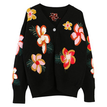 Shuchan Women's Sweater with A Pattern Embroidery Floral Prairie Chic V-Neck Cardigans Single Breasted  Knit Sweater Women 10968