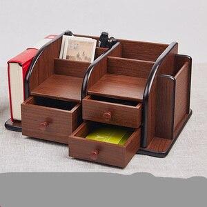 Image 3 - 多機能木製収納ボックスデスクトップオーガナイザーリモコンホルダー文具ペンホルダー化粧箱オフィス用品