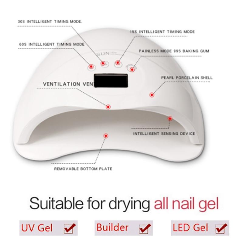 SUN5 Plus 48W lampa do paznokci LED UV do paznokci suszarka do żelu do polerowania utwardzania automatyczny czujnik Nail Art szybkie suszenie narzędzia do paznokci
