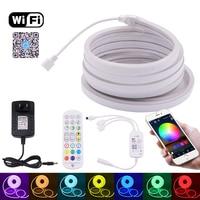 Tira de neón RGB con Control por Bluetooth y WIFI, cinta Flexible de luz LED resistente al agua, 3535 SMD, 96 LEDs/m, 6x12mm, 12V de CC