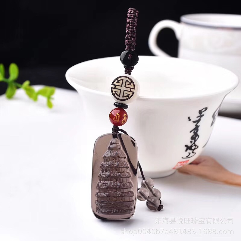 Natural Ice like Obsidian Wenchang Tower Keychain Car Key Chain Collocation liu pi Ivory Nut Accessories Key Case for Car     - title=