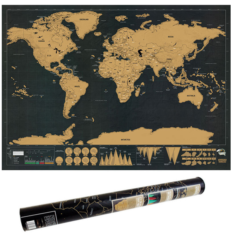 Deluxe Erase World Travel Map Scratch Off World Map Travel Scratch Scrape For Map Room Home Office Decoration Wall Stickers