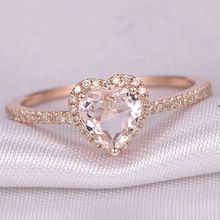Fashion Crystal Heart Shaped Wedding Rings For Women Rose Gold Ladies Engagement Rings