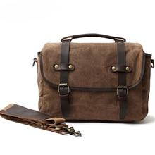 DSLR Camera Bag Fashion Grazy Horse Leather Shoulder Bag Hand Bags For Canon Nikon Sony Lens Pouch Bag Waterproof Photo Bag